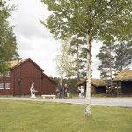 Laftehuset, som er utleiehuset for overnatting på Mineralparken på Evje, ligger på et tun med flere andre gamle hus fra Setesdalen