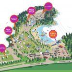 Mineralparkens parkkart som viser aktivieter og avmerkede steder i parken på Evje.